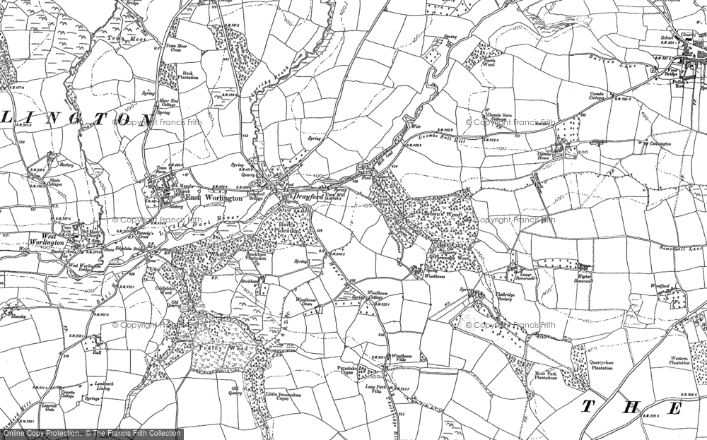 Old Map of Historic Map covering Woodhouse Villa in 1887