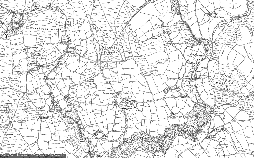 Old Map of Historic Map covering Whitebarrow Downs in 1882