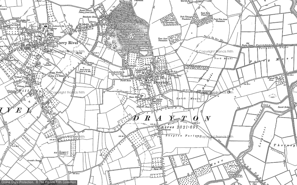 Old Map of Historic Map covering Whitecross in 1885