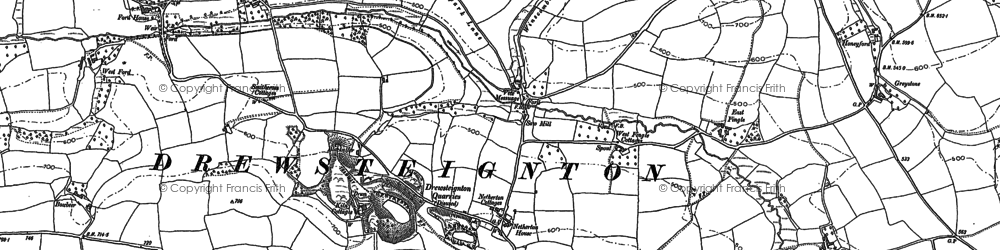 Old map of Whiddon Wood in 1884