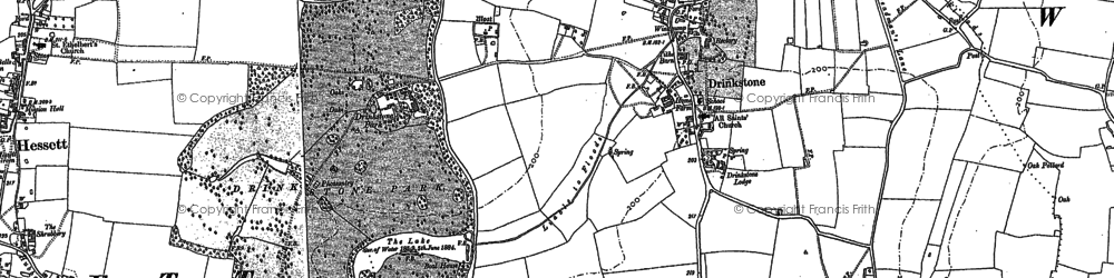 Old map of Drinkstone in 1883