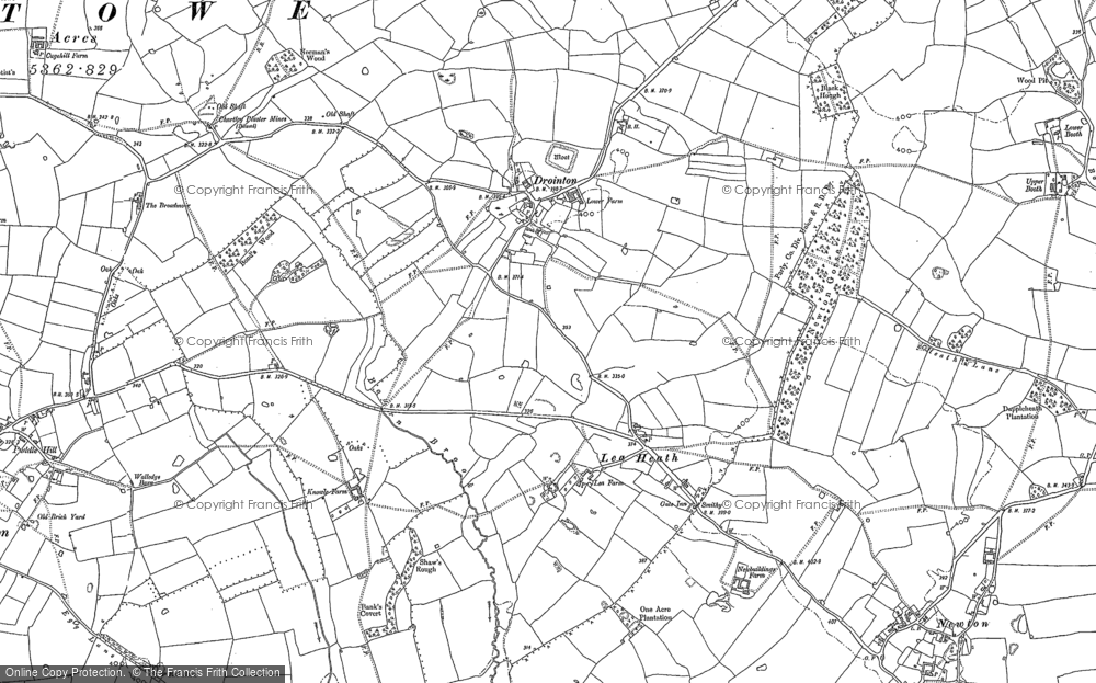 Old Map of Historic Map covering Lea Heath in 1881