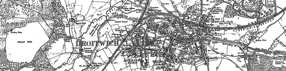 Old map of Droitwich Spa in 1883