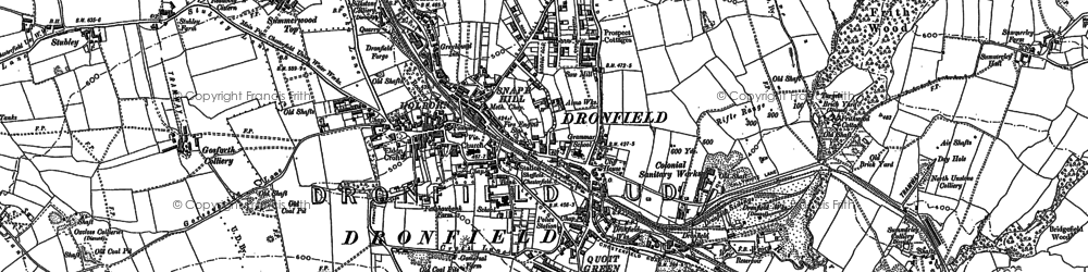 Old map of Dronfield in 1876