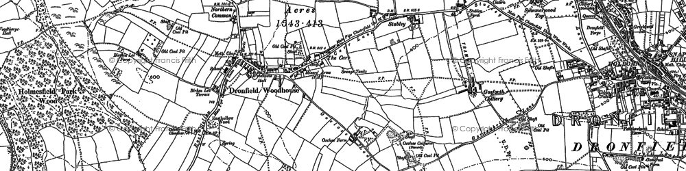 Old map of Dronfield Woodhouse in 1936