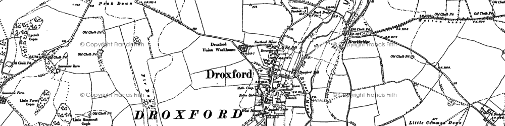 Old map of Droxford in 1895
