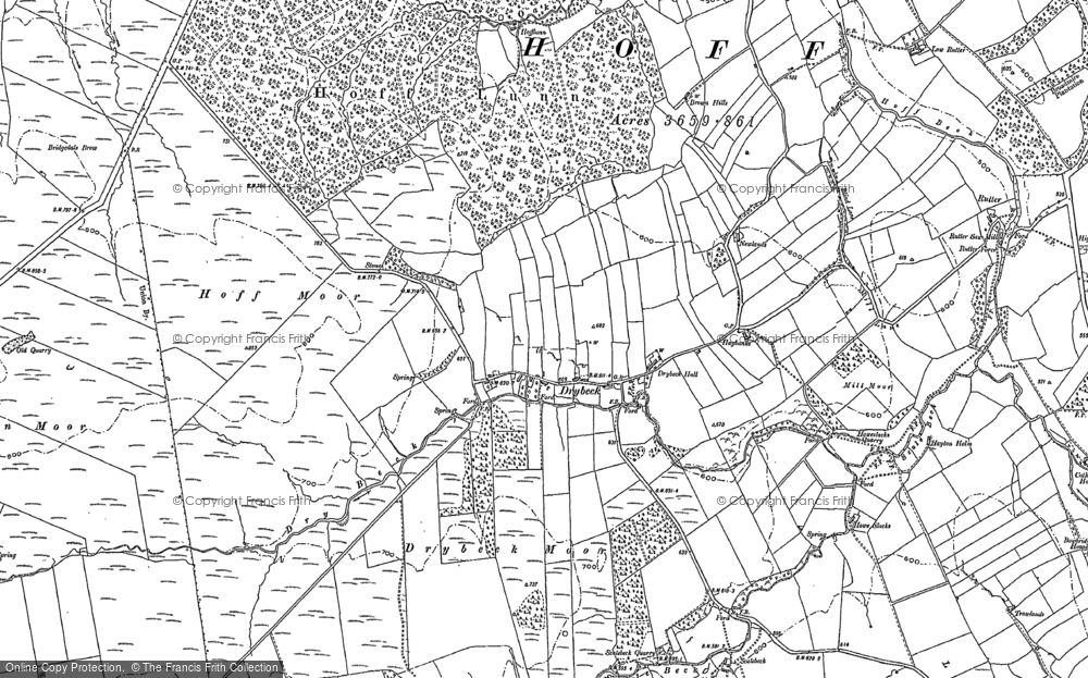 Old Map of Historic Map covering Bank Moor in 1897