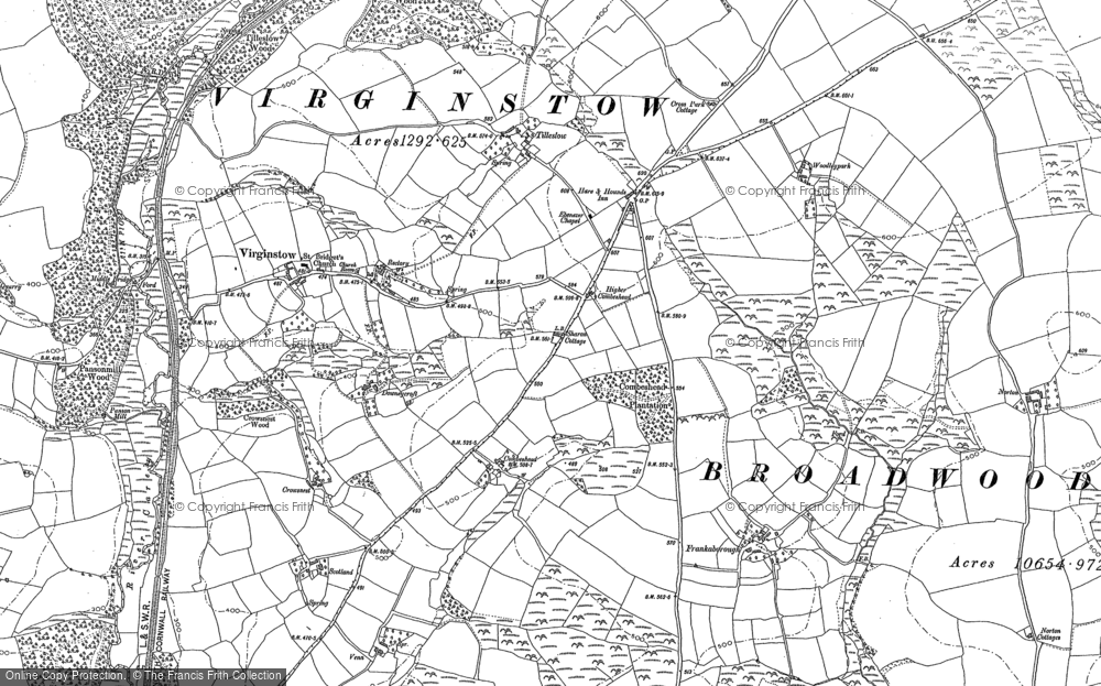 Old Map of Historic Map covering Ashwater Wood in 1883