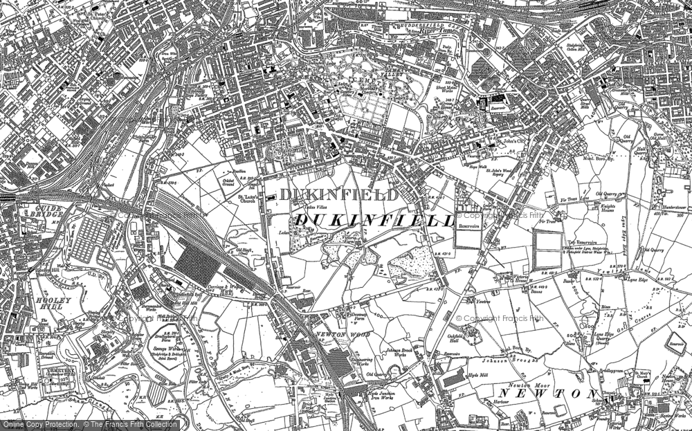Old Map of Historic Map covering Yew Tree in 1907