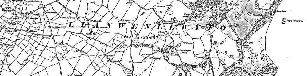 Old map of Ynys y Carcharorion in 1887
