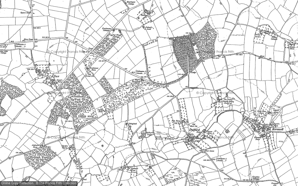 Old Map of Historic Map covering Aller in 1887