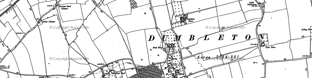 Old map of Dumbleton in 1883