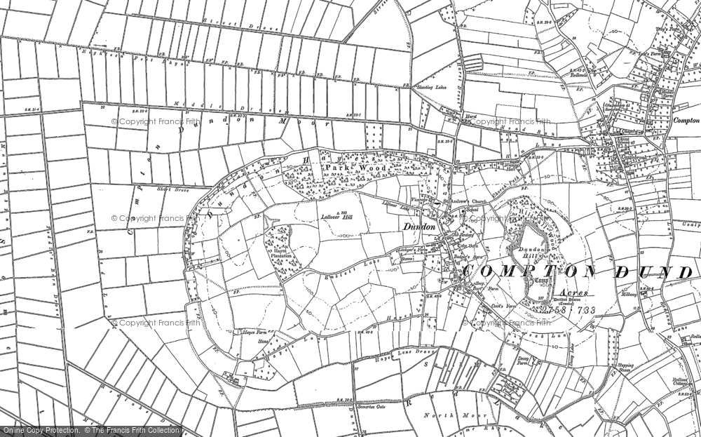 Old Map of Dundon, 1885 in 1885