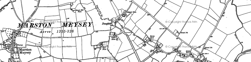 Old map of Dunfield in 1901