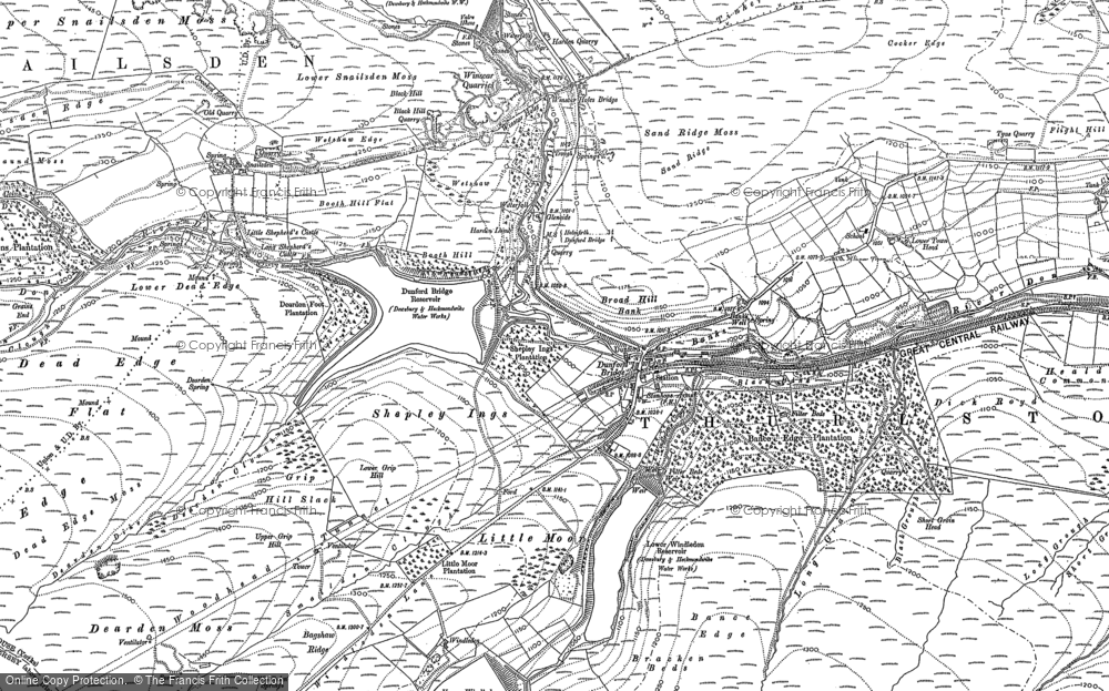Old Map of Historic Map covering Laund Clough in 1888