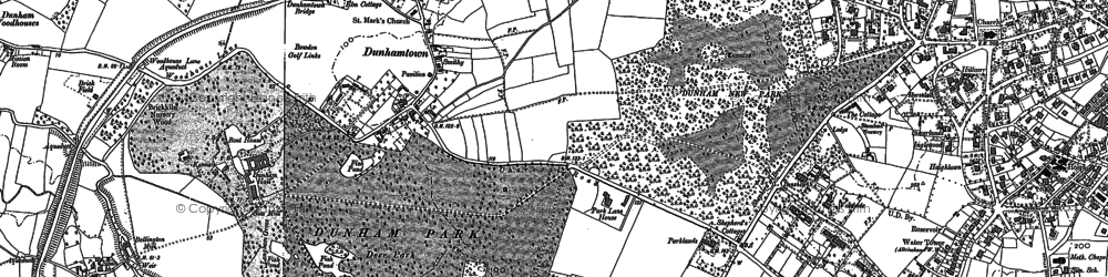 Old map of Dunham Town in 1897