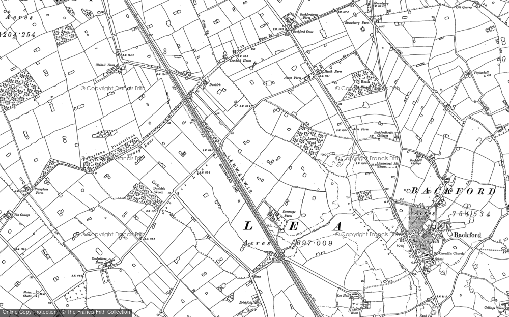 Old Map of Historic Map covering Backford Cross in 1898