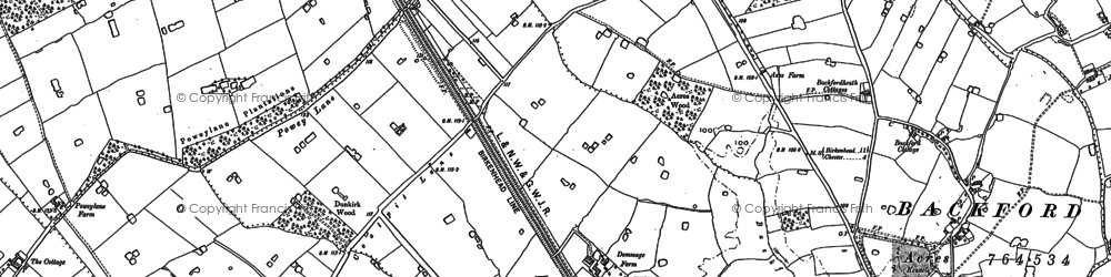 Old map of Backford Cross in 1898