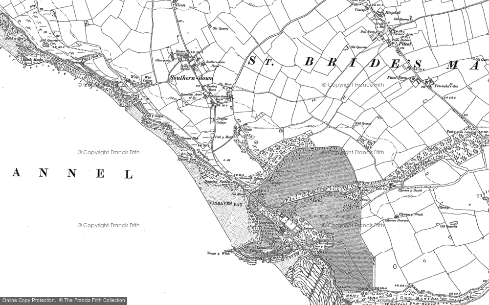 Old Map of Dunraven Bay, 1897 in 1897