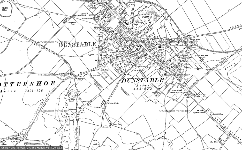 Map of Dunstable, 1900