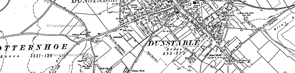 Old map of Dunstable in 1900
