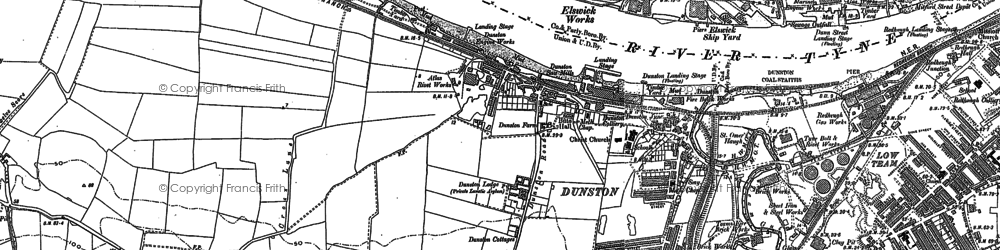 Old map of Whickham Thorns in 1895