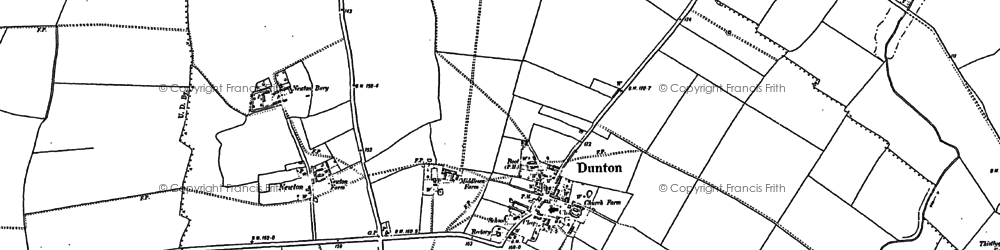 Old map of Dunton in 1882