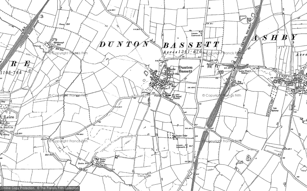 Old Map of Dunton Bassett, 1885 - 1901 in 1885