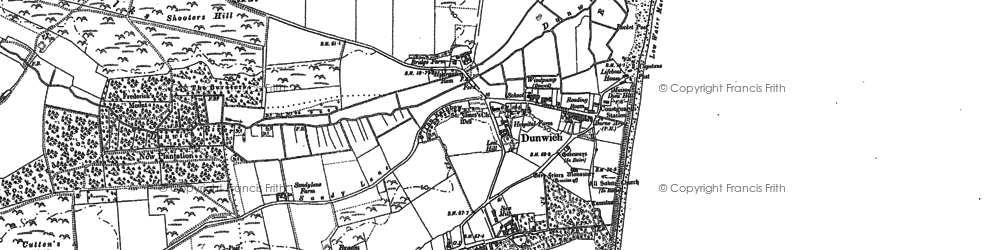 Old map of Dunwich in 1883