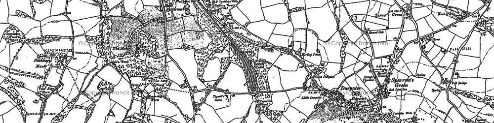 Old map of Durgates in 1908