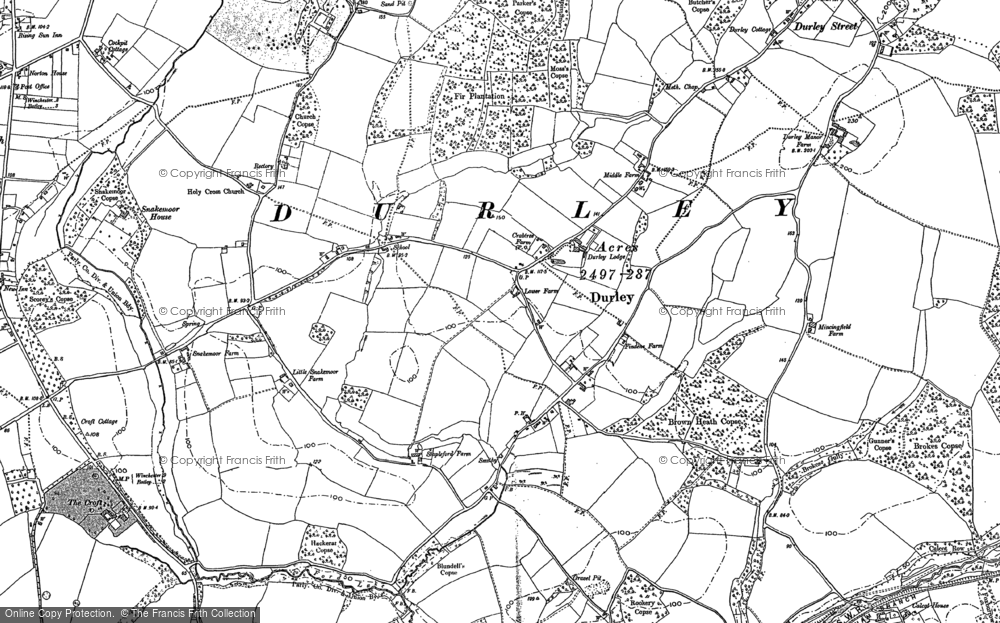 Old Map of Durley, 1895 in 1895
