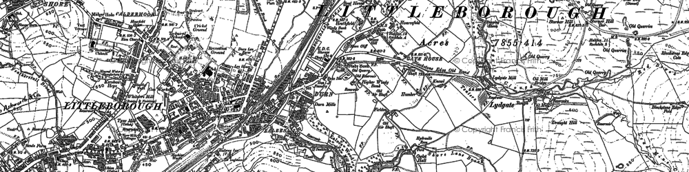 Old map of Whittaker in 1891