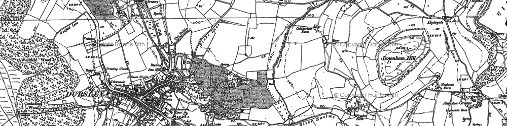 Old map of Dursley in 1882