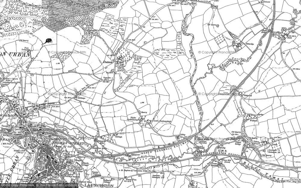 Old Map of Historic Map covering Tipple Cross in 1882