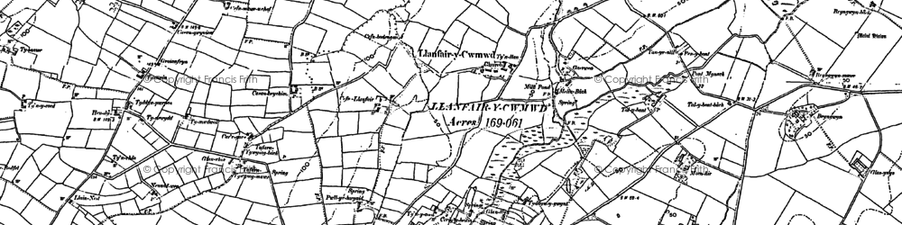 Old map of Dwyran in 1899
