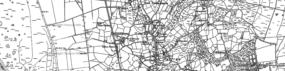 Old map of Llanddwywe in 1888