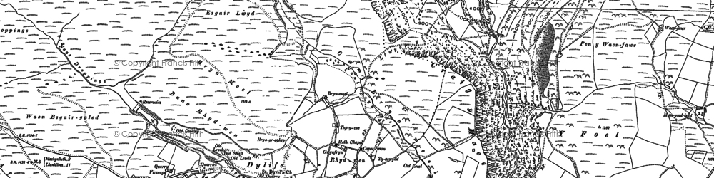 Old map of Dylife in 1885