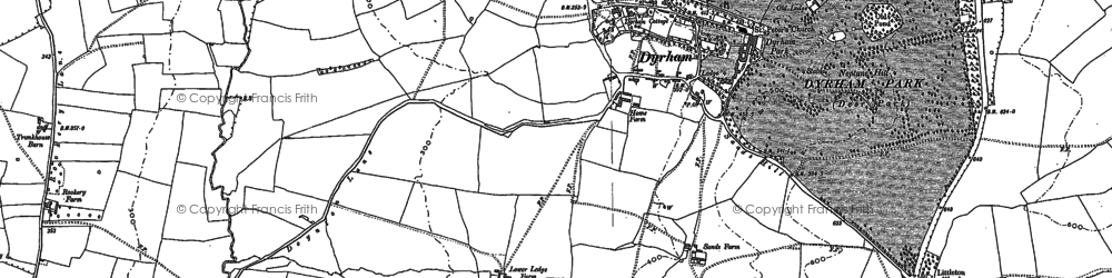 Old map of Dyrham in 1881