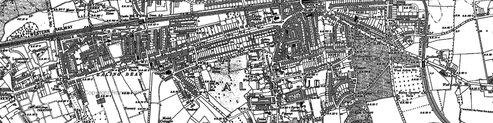 Old map of Ealing in 1893