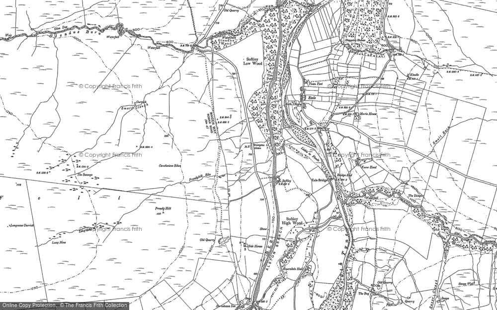 Old Map of Historic Map covering Ashholme Common in 1895