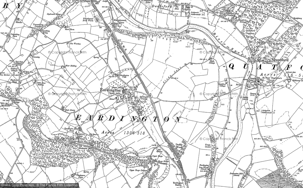 Old Map of Historic Map covering Astbury Hall in 1882