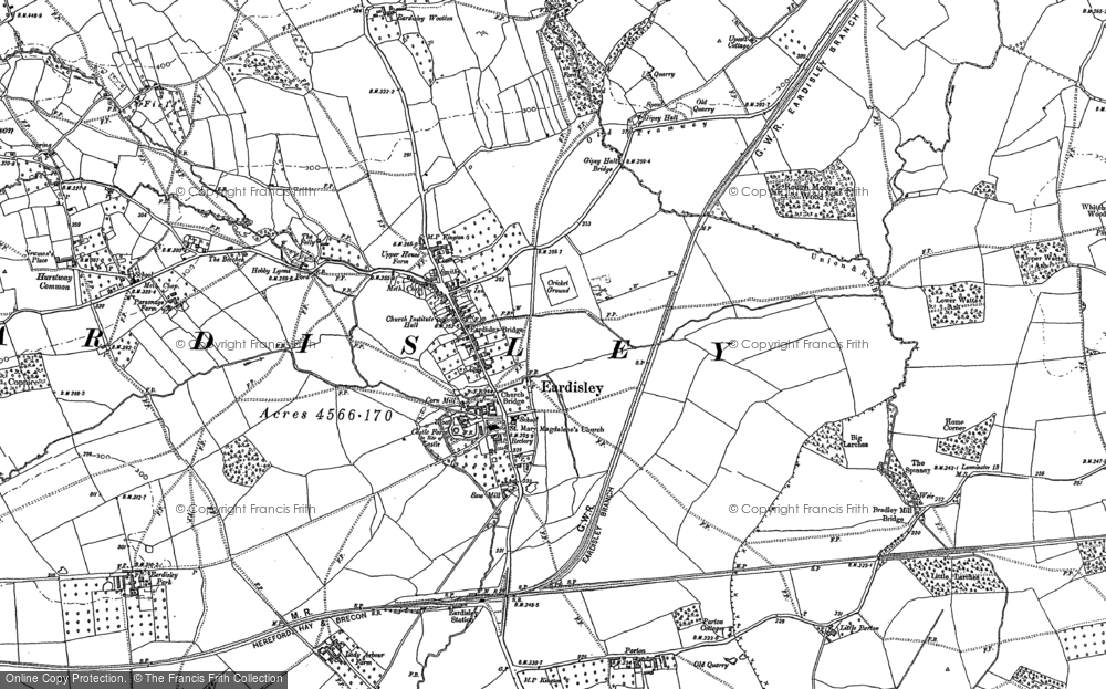 Old Map of Historic Map covering Woods Eaves in 1885
