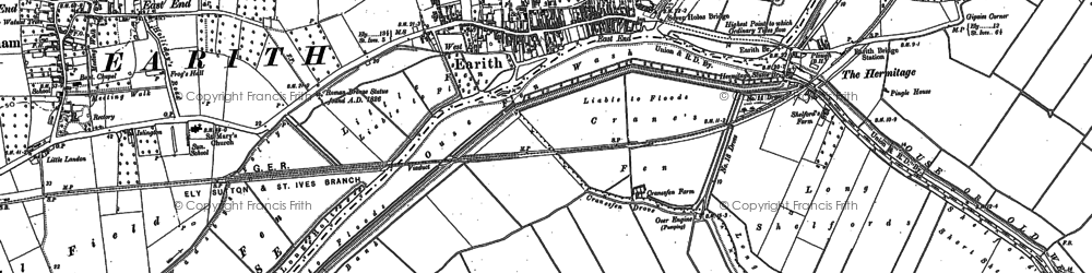 Old map of Earith in 1900