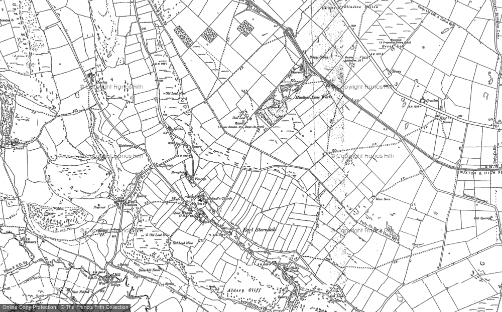 Old Map of Historic Map covering Aldery Cliff in 1897
