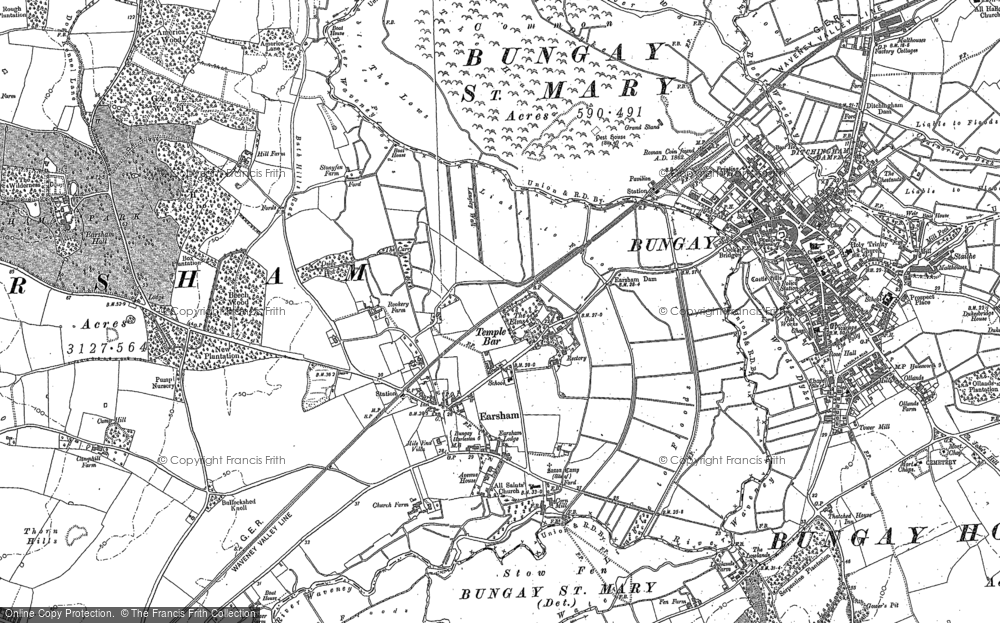 Old Map of Historic Map covering Lay, The in 1903