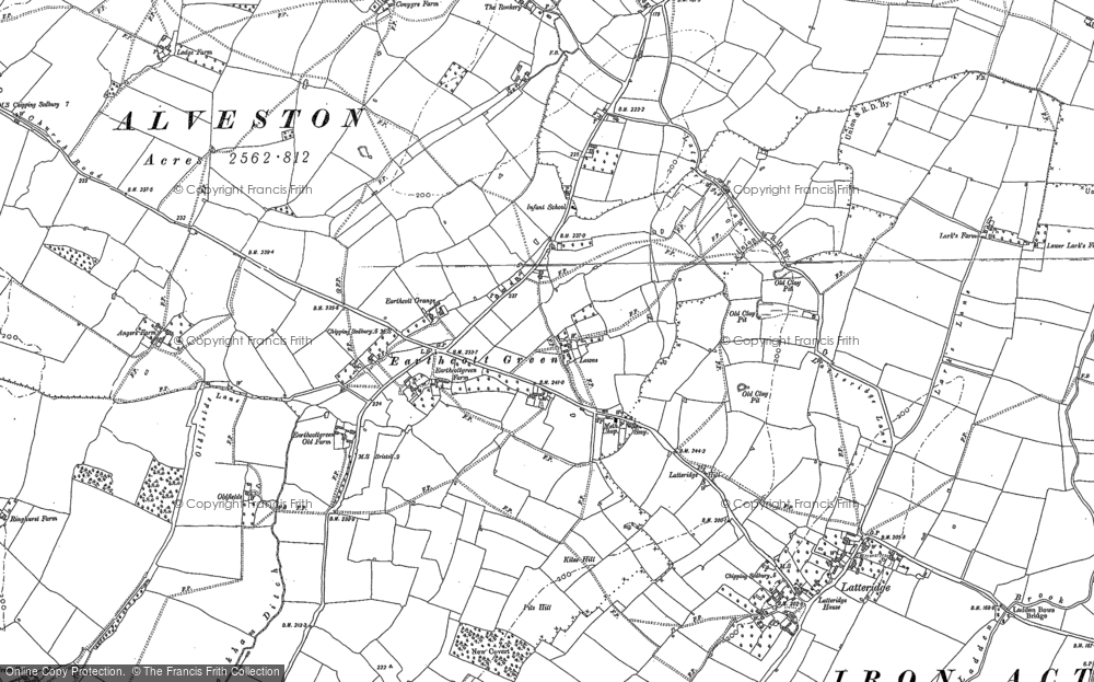 Old Map of Historic Map covering Latteridge Hill in 1879