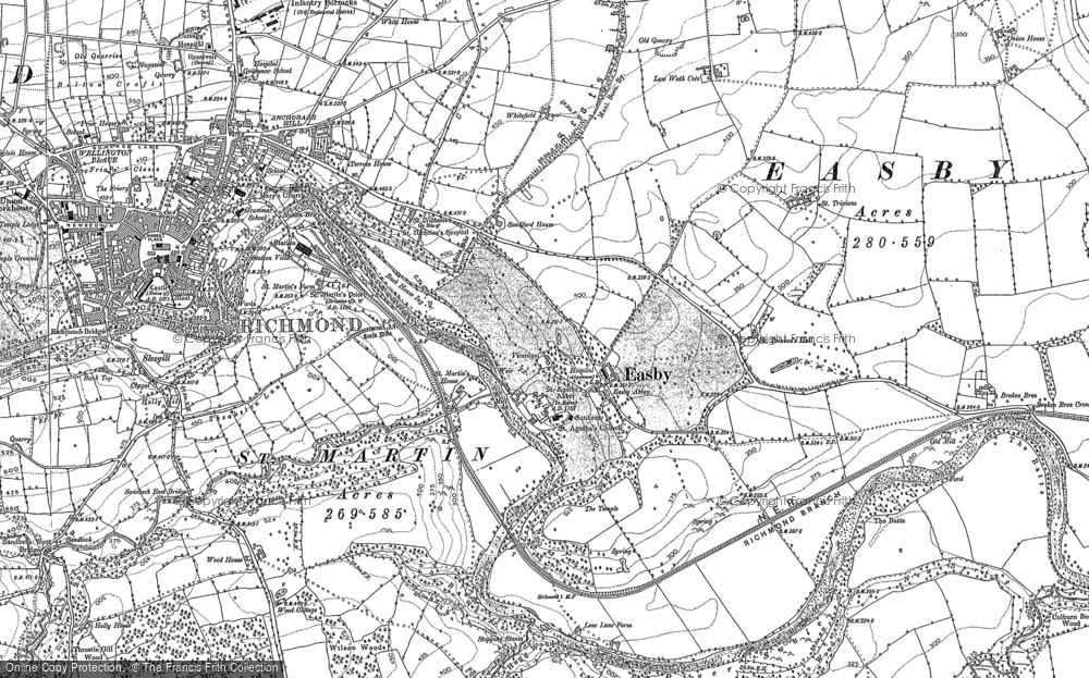Old Map of Easby, 1892 in 1892