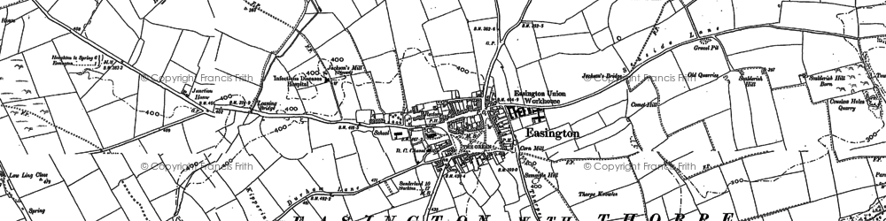 Old map of Easington in 1896