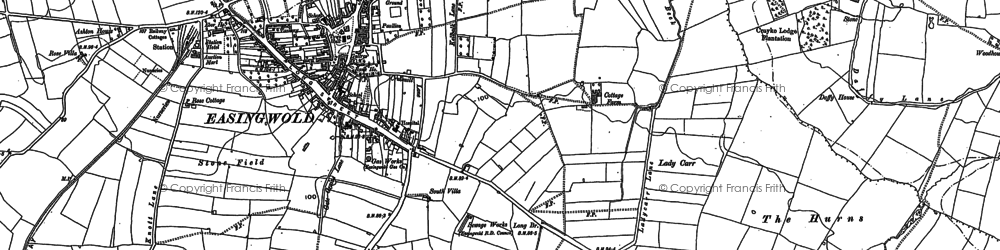 Old map of Easingwold in 1889