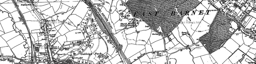 Old map of East Barnet in 1895